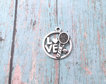 4 Love Tennis charms (1 sided) antique silver tone - tennis pendants, sports charms, tennis player charms, tennis racket charms, BX278