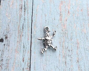 Christmas Elf charm 3D silver plated pewter (1 pc) - silver elf pendant, Christmas charm, holiday charm, sprite charm, holiday pendant, GG16