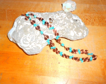 """Ancient Spirals of Wisdom Handmade Copperwire Wrapped 20"""" Necklace w/turquoise"""