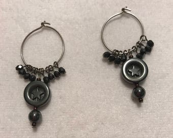 Earrings - Hematite and Glass