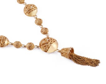 Songket Gold Plated Necklace / 925 Sterling Silver / Gold Plated / Balinese Songket Ornamentation / Fine Quality