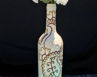 Beige Cream Brown Gold - Hand Painted Wine Bottle - Vase - Decorative Olive Oil Holder - decorative wine bottle - bar decor - kitchen