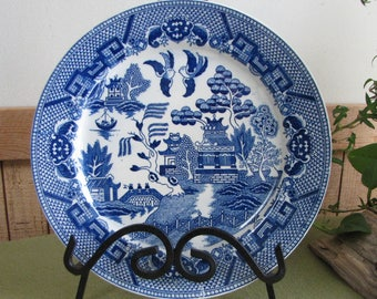 Japan Blue Willow Ware Plate Antique Decorative Plates Blue and White Home Décor Farmhouse Rustic Style Asian Styled Chinoiserie