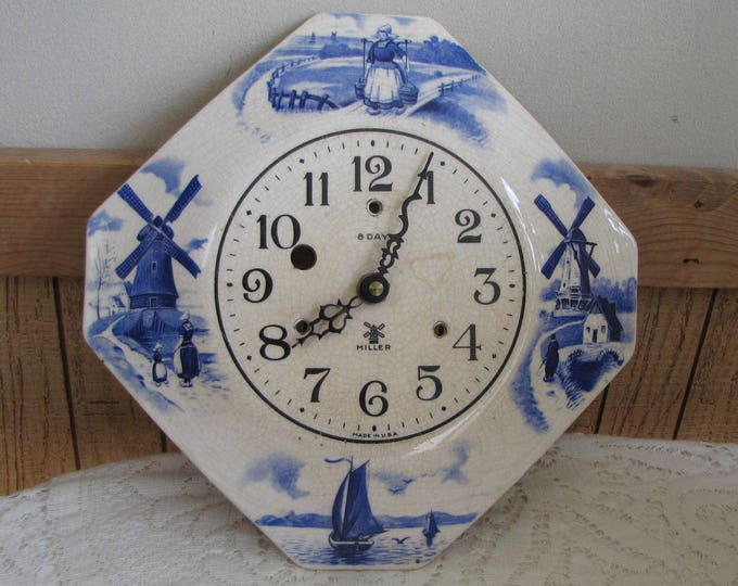Vintage Miller 8-Day Windmill Clock Hexagon Ceramic Blue and White Wall Clocks