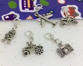 Boys Zipper Charms, Camera, Plane, Robot, Tractor, Clip on Charm, Zipper Charm, Boys charms, Gift for Boys, Stocking Filler,  Et 519