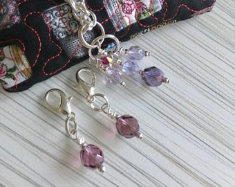 Lilac Stitchmarkers, Stitchmarker Jewellery, Knitting and Crochet, Stitchmarkers, Knitters Gift, Knitting Supplies, Beaded Stitchmarkers,