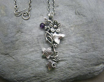 Amethyst necklace ~ February birthday necklace ~ Birthstone jewellery ~ Sterling silver ~ Leaf necklace ~ Ivy leaves ~ Silver leaf necklace
