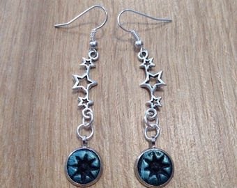 Black and blue dangling earrings