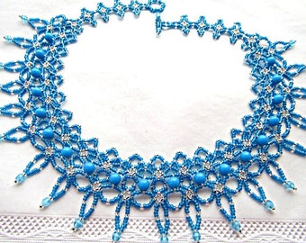 Blue Beaded Necklace Embroidery Necklace  Beaded  Necklace Beadwork Necklace Handmade Jewelry OOAK Ready to ship