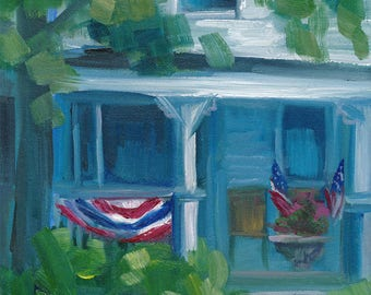 Attleboro Porch,  oil painting, ready to hang, original art, americana
