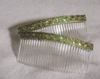 womens accessories Hair combs Reflective Green hair combs Hair accessories fashion combs