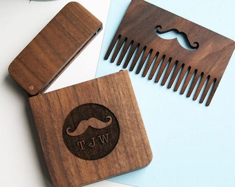 Personalised wooden beard gift set - Beard Comb - Dark wood Moustache comb - Gift boxes with lids - father's day beard comb - hispter gift
