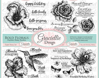 Bold Florals - Digital Stamp Bundle