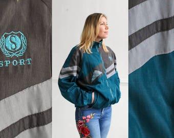 Blue-Green naylon windbreaker, Colorblock jacket, Vintage jacket, Track jacket, Vintage windbreaker, Sports jacket, Tracksuit / XXL Large