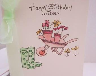 Gardening card, watercolour card, birthday card, wife card, gardener's card, mum card, dad card, husband card, personalise, handmade card