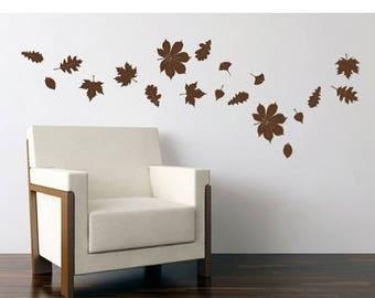20% OFF Summer Sale Falling Leaves autumn wall decal, sticker, mural, vinyl wall art