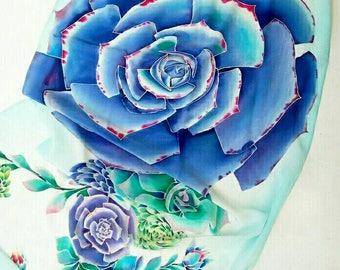 Summer Wrap Silk Scarf Hand Painted  Large Silk shawl Bridesmaid shawl Flowers festival shawl Succulent Wedding shawl Botanical scarves