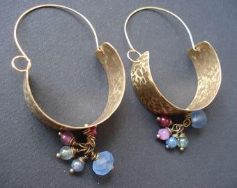 Hammered Bronze Hoop Earrings Boho Metalwork Tourmaline and Bronze Dangle Hoop Earrings Unique Modern Hoop Earrings