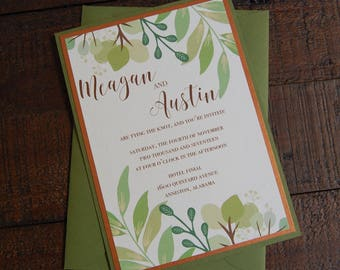 Green and Copper Wedding Invitation, Greenery Wedding Invitation, Floral Wedding Invitation, Green Floral Invitation, Floral Invitation