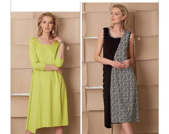 Vogue Pattern V9254 Misses' Pullover Dresses with Asymmetrical Front, and Sleeve Variations