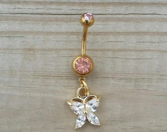 Butterfly Belly Button Ring, Gold Belly Button Jewelry, Body Jewelry, Butterfly Navel Rings.
