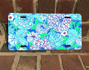 Custom Lilly Inspired License Plate Front and Back Plate set/ Aluminum/Fiberglass License Plate