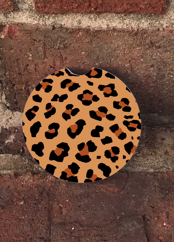 Custom cheetah print on a car coaster absorbent stone car - Stone absorbent coasters ...