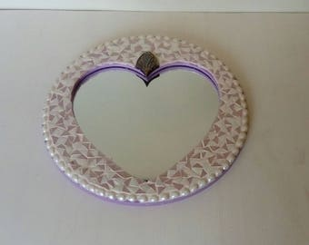 Round wood decorated with mosaic mirror