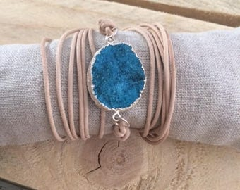 Druzy quartz agate turquoise gemstone Leather Wrap bracelet