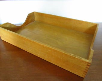 Vintage Wooden Paper Tray Solid Blonde Oak In Box Desk Organizer - Legal Sized