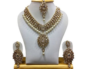 White Kundan Party Wear Pearl Traditional Jewelry Set / Necklace Set for Women