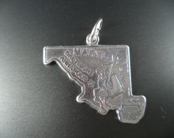 STERLING SILVER State of Maryland Charm for Charm Bracelet