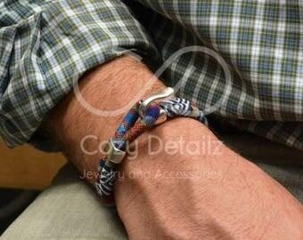 Pulsera étnica azul, pulsera tejido multicolor, pulsera náutica para hombres, regalos para hombres, joyería náutica, regalos para novio