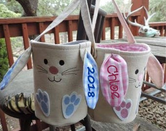 Personalized Embroidered Easter Cloth Basket Bucket - Burlap and Plaid - DESIGN YOUR OWN! - Cutest Bunny Ears Ever!