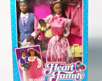 1985 Mattel The Heart Family New Arrival Set Black Dolls & Accessories Kit NIB