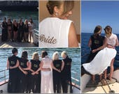 Personalised Hen Do Cover Up Kaftan/Kimono Bride To Be, Bridal, Bridesmaid, Black, White