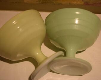 Hazel Atlas Green and Yellow Moderntone Set of 2 Platonite Sherbet Cups Fruit Bowls