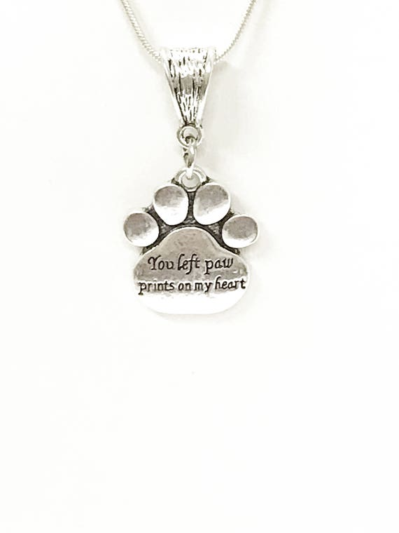 You Left Paw Prints on My Heart Pet Memorial Necklace, Dog Remembrance Jewelry, Pet Remembrance, Dog Memorial Jewelry, Dog Mom Sympathy Gift