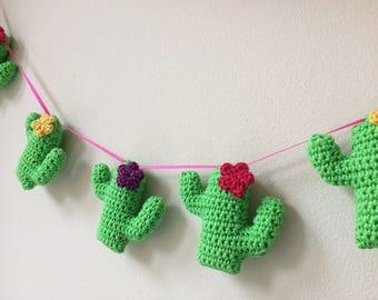 Crochet Cactus Bunting Pdf Pattern - Cactus Keychain Pdf Crochet Pattern - Cactus Keyring - Cactus Garland