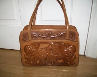 Leather handbag. Tan leather bag. Mont Abur Tooled Leather bag 60s tooled leather bag Vintage Handbag Purse, Briefcase