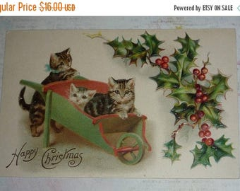 ON SALE till 6/30 Adorable Three Little Kittens and a Green Wheel Barrow Antique Christmas Postcard U/S Helena Maguire