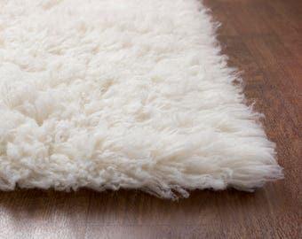 Flokati Area Rug, 5ft x 7ft, White, 100% Wool Shag Rug