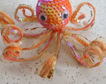 Orange Iridescent Sequin Octopus Ornament with Eight Bendable Arms