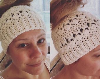 Crochet Messy-bun hat