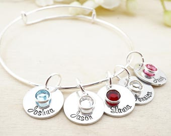 Personalized bangle bracelet! Mothers bangle - Grandma Bracelet - Mothers Bracelet - Mothers Day Gift - Gift for Grandmother - Gift for Mom