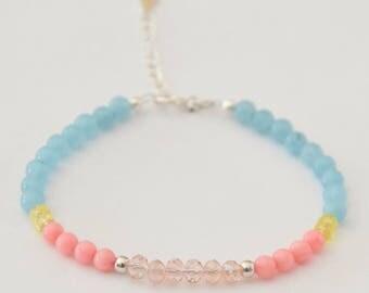 Sparkling in gemstones and silver bracelet