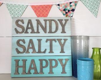 Beach House Decor, Beach House sign, Beach Decor, Sandy Salty Happy Sign, Nautical sign, nautical decor, beach art, beach house art, beach