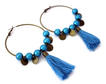 Large hoop earrings turquoise with tassel detail and sequin-vintage retro brass