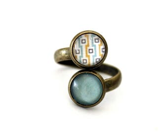 """Small double ring Bohemian """"yellow and turquoise squares"""" - retro vintage bronze"""