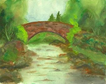 Original Watercolor - Bridge Over River